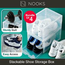 AJ Stackable Sneakers Shoe Storage Box - High Quality | Big Capacity | Shoe Rack (Bundle of 4)