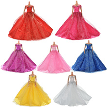 Wedding Dress for Barbies Doll Beautiful Trailing Skirt Wedding Dress 7 Colors