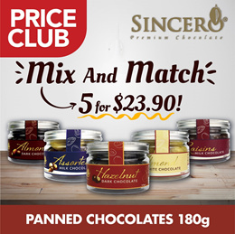 [SINCERO] Panned Chocolates 180g Mix n Match 5 for $23.90! | Q10 Exclusive