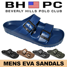 [BHPC] Beverly Hills Polo Club - Mens EVA Sandals MQ10.  Available: Black Bronze Grey Khaki Navy