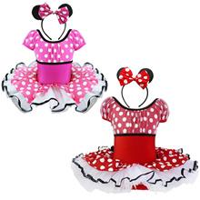 Kids Baby Girls Polka Dots Ballet Tutu Party Dress with Ear Headband Costume Dancewear