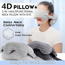 4D Pillow+ ♦ 2 in 1 Multifunctional Neck Pillow with Eye mask ♦ Design for Travel and Office