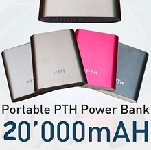PTH i-colour Powerbank 20000mAh + FREE Rubber Pouch + FREE 1 Charging Cable