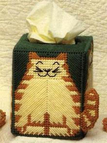 Cross Stitching Cute Cat Tissue Box A-313