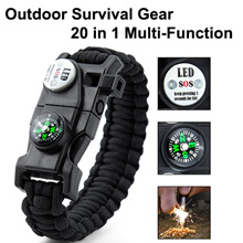 Premium Paracord Survival Bracelet Outdoor Emergency Tool Kit 20 in 1 with Compass High Quality