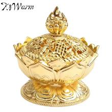 KiWarm Chinese Lotus Gold Incense Burner Holder Flower Statue Multifunction Censer Home Room Decorat