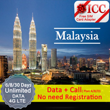 ◆ ICC◆【Malaysia Sim Card· 6-45 Days】❤ Maxis/Celcom-Unlimited 4G LTE(F)❤ 4G LTE+Unlimited data*+Call
