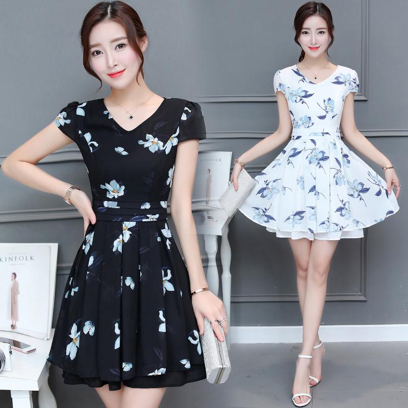 韓国ファッション♥半袖、セレブなOL気質の職業の服装,レーススカート,レディースファッション♥ワンピース