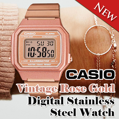 adbfbdd7fcd New Casio Vintage Rose Gold Digital Stainless Steel Watch B650WC-5A  B650WC-5A
