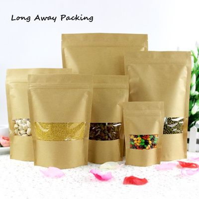 3fc02b2db4fc Long Away Packing Zip lock Kraft Paper Window Bag Stand up Gift Dried Food  Fruit Tea packaging Pouch