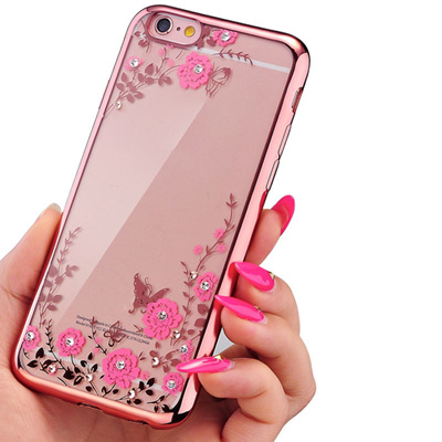 Iphone 6 6s 4 7 Ultra Thin Rose Gold Clear Case Iphone 6s Plus 5 5 Transparent Tpu Crystal Flowers