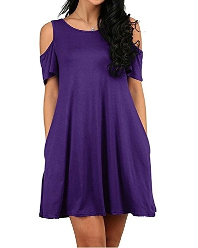 c559ae35bb58 Womens Summer Swing T-Shirt Dress Cold Shoulder Tunic Top Casual Sundresses  With Pockets S