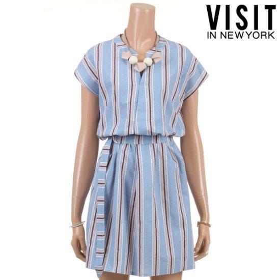 ・ビジット・インニューヨーク・ペール・ストライプDリングワンピースVTFOP20 面ワンピース/ 韓国ファッション