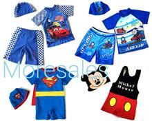 Small Boys Swimwear swim trunks cosplay superman spiderman batman mickey mouse car frog