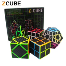 Zcube Set 5pcs /box Carbon Fiber Magic Cube Pyraminx Dodecahedron Axis Cube 2x2x2 Cube 3x3x3 Cube Sp