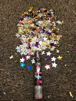 25cm Party Popper Multicoloured Stars Button Activated