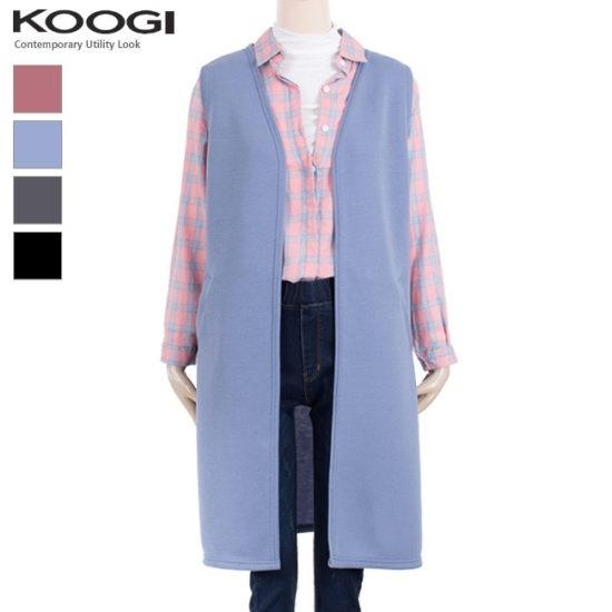 釘宮パステルロングベストKK3VT326A ロング/ショールカラベスト/ 韓国ファッション