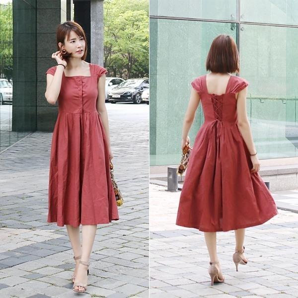 コルセットフレアロングワンピースnew ロング/マキシワンピース/ワンピース/韓国ファッション
