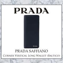 Prada Saffiano Corner Vertical Long Wallet (Baltico)