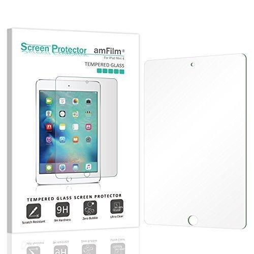 (amFilm) amFilm iPad Mini 4 Tempered Glass Screen Protector 0 33mm 2 5D  Rounded Edge for Apple iP