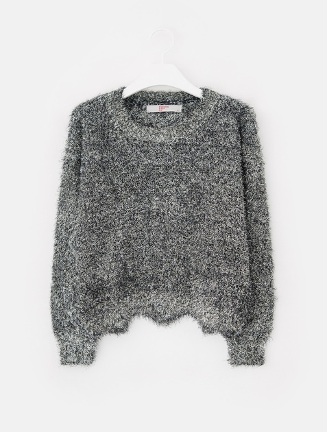 8SECONDS Glitter Hairy Cropped Knit - Black