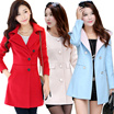 Korean Style Women Long Sleeves Woolen Trench Coats Warm coats Trench coats