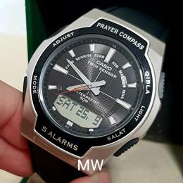 CPW-500H CPW500HL-1A Casio Mens Quartz Islamic Prayer Compass Black Leather Watch