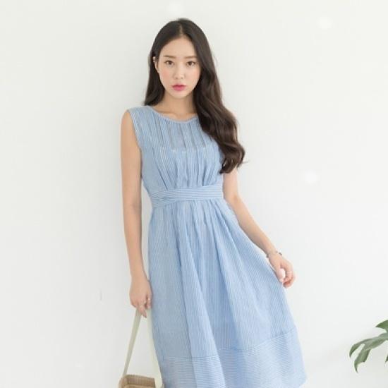 ホワイト・フォックスストラップポイント・ストライプワンピース 綿ワンピース/ 韓国ファッション