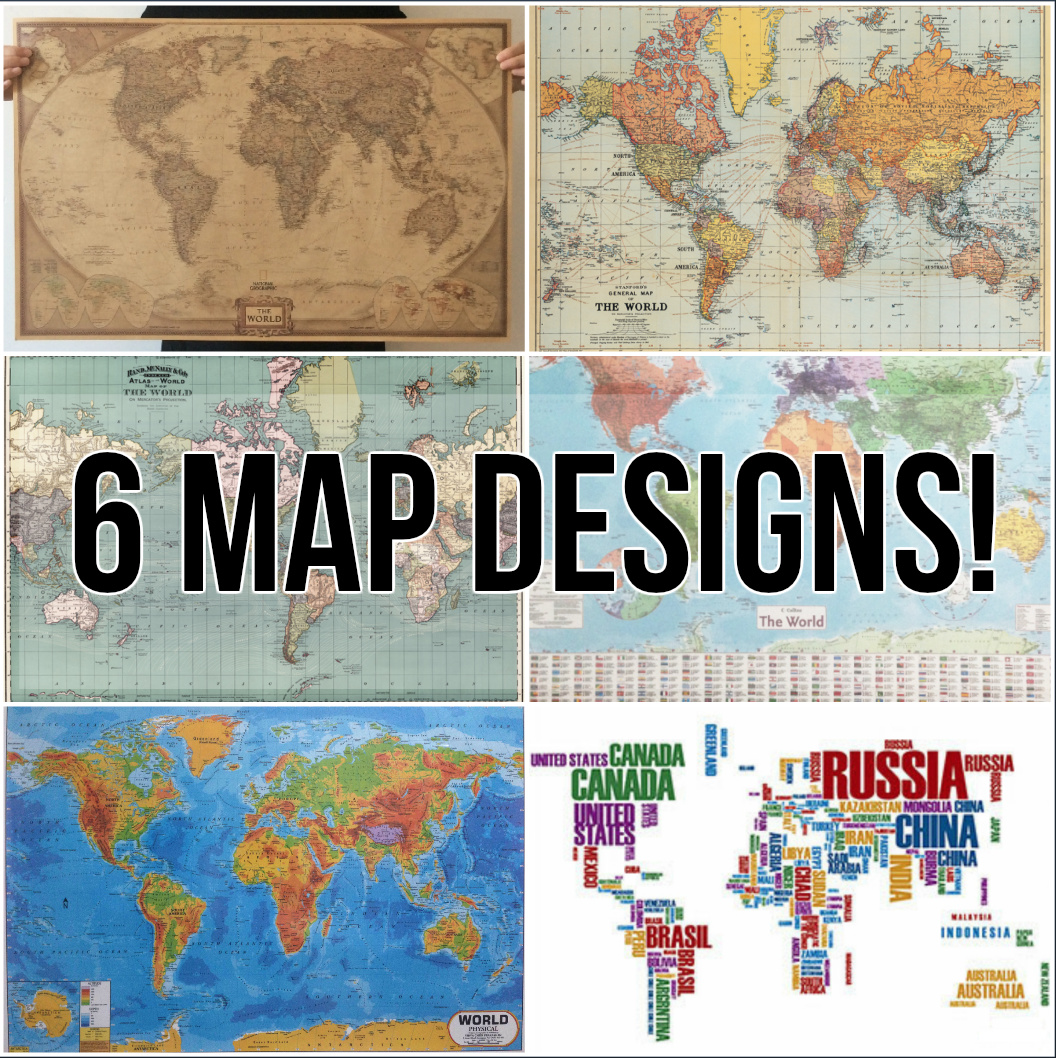 Qoo10 world map poster 6 types around the globe diff show all item images gumiabroncs Choice Image