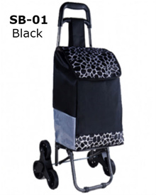 (Car Tyre Wheels) Black Stylish Shopping Bag Trolley (Upgraded Version) * Portable/Foldable/Light
