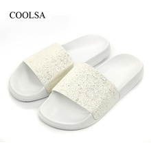 Quick View Window OpenWish. rate 0. store COOLSA Womens Summer Non-slip  Solid Flat Bling Slippers Sequins Designer Flat Slides Beach Hom d7a2ce1f52ba