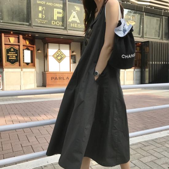ショールーム・ラペル・アースワンピース 塔/袖なしのワンピース/ 韓国ファッション