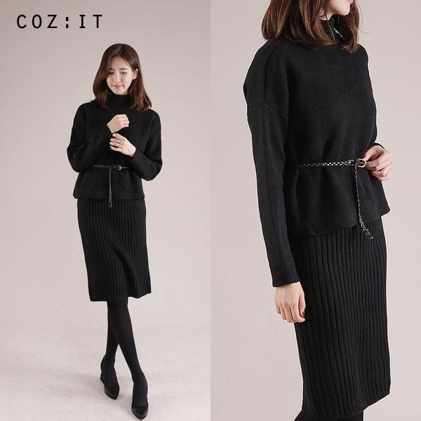 ゴルジニットスーツnew / 体型カバーになる / 秋ワンピース / ニット・ワンピース / 韓国ファッション妊婦服 /