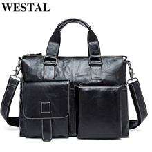 outlet WESTAL Genuine Leather Men Bag Men Briefcases male Leather business Computer Laptop Bags Cros