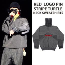 《送料無料》BIGBANG GD/g-dragon st. High Quality/レッドロゴピンストライプタートルネックスウェットシャツ