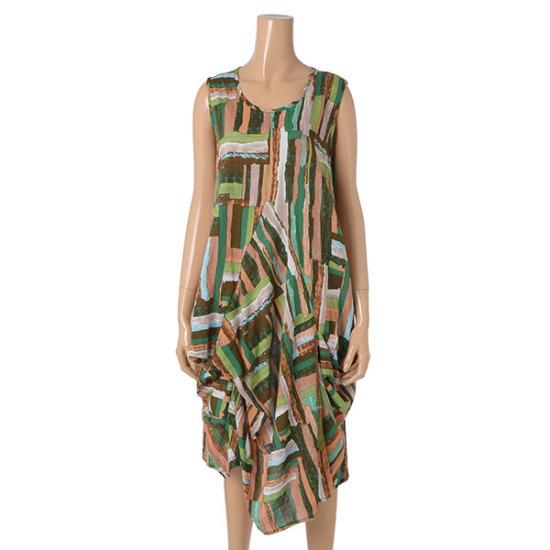 パパイヤ、グリーンライト綿ワンピースCNHROP927B 面ワンピース/ 韓国ファッション