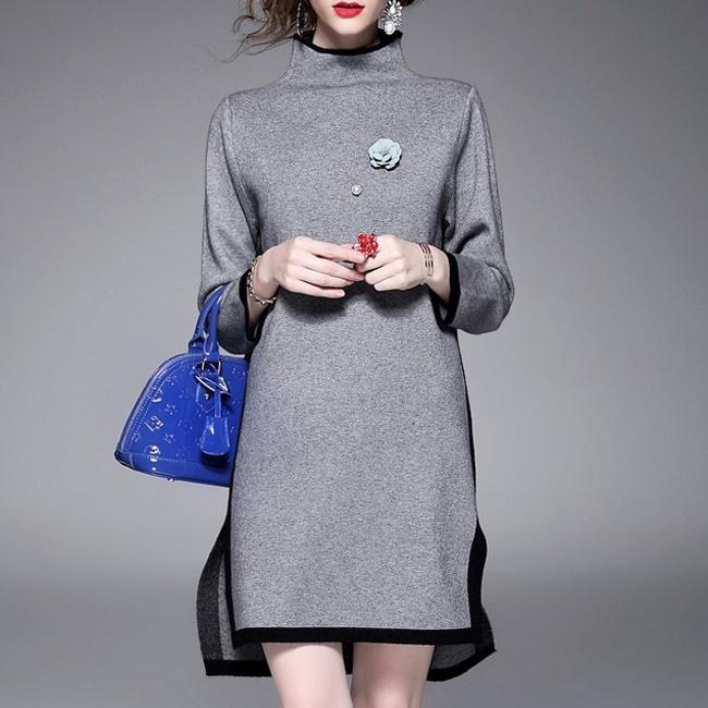 【韓国ファッション】Knit One-piece_233170/ワンピース/リブニットワンピース/おしゃれなシルエット