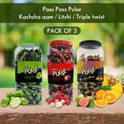 Pass Pass Pulse Kachcha Aam / Litchi / Triple twist(Orange/Pineapple/Guavava/) with tangy twist (Pack of 3) (680 gm x 3)