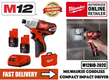 Milwaukee M12BID-202C Cordless Sub Compact 1/4 Hex 12V Impact Driver Set  c/w Battery Charger Set