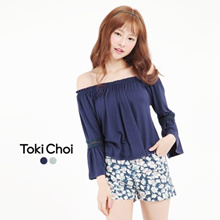 TOKICHOI - Off The Shoulder Top With Crochet Inserts-6018029-Winter