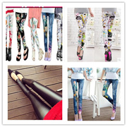 [ Buy 4 in 1 shipping] 2016 Autumn new Korean thin section tight leather pants leggings outer wear pants feet
