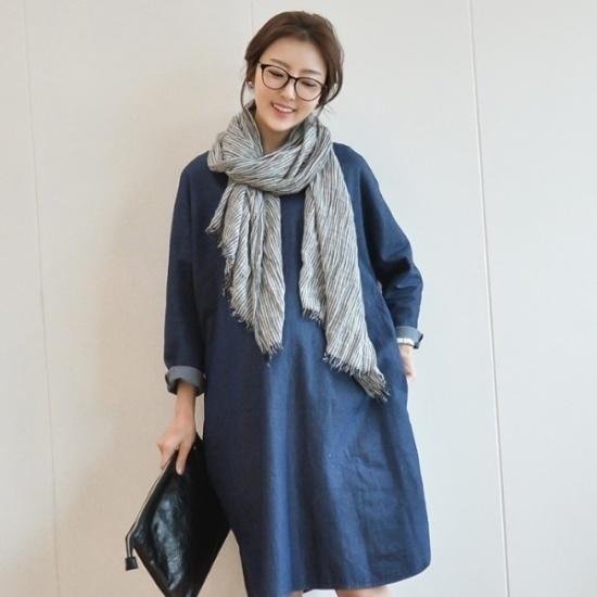 妊婦服・ドット・コム両面バイブデニム妊婦ワンピース シフォン/レースのワンピース/ 韓国ファッション