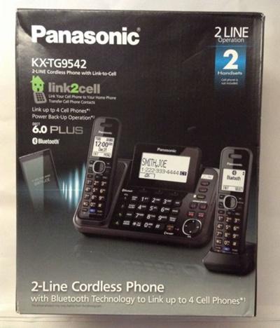 Panasonic KX-TG9542B 2 Handset Expandable Corded Cordless Phone DECT 6.0 New