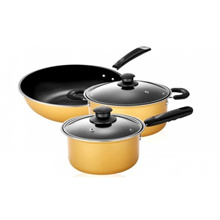 5pcs Nonstick Cookware Wok Frying Pan Pot Induction Cookware Set - Yellow