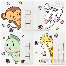 [NEW DESIGNS Romantic] Home Decor Sticker Cute Wall Switch Decal Kitchen Living Study Room Animals
