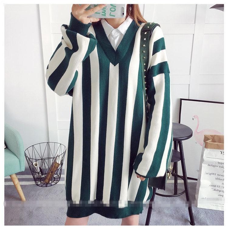 2017早秋  韓国ファッション  レディース  ワンピース 流行 体型 カバー  ニット 長袖 可愛い  上質  SKZ154