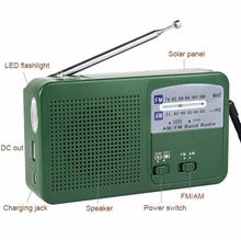 Radio FM/AM Dynamo Generator Solar Crank Receiver Powered Flashlight Emergency Charger Radio Recorde