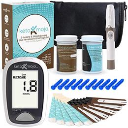 KETO-MOJO Blood Ketone and Glucose Testing Kit Monitor Your Ketogenic Diet 1 Meter 1 Lancing..