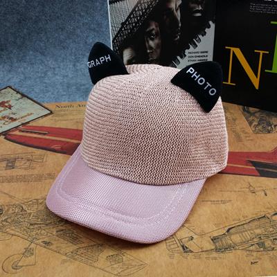 1f54884ca52 Korean version of cat ears sun protection baseball cap   cute parent-child  straw hat