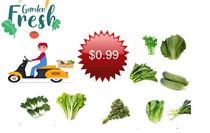 unbeatable price **$0.99**fresh green leafy**